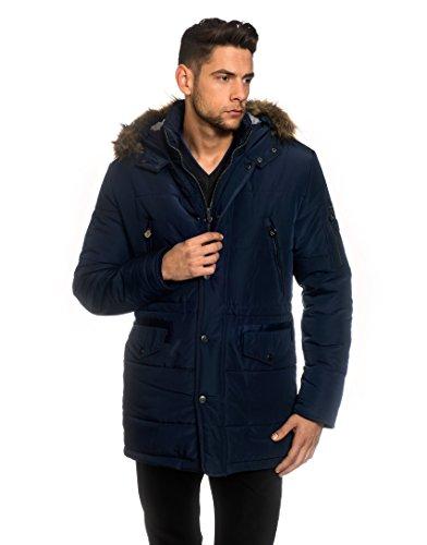 VB Men's Winter Coat with stand-up Collar, Hood, detachable fake fur, waist drawstring,darkblue,Large