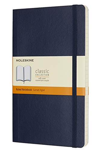 Moleskine Classic Ruled Paper Notebook - Soft Cover and Elastic Closure Journal - Color Sapphire Blue - Large 13 x 21 A5 - 192 Pages