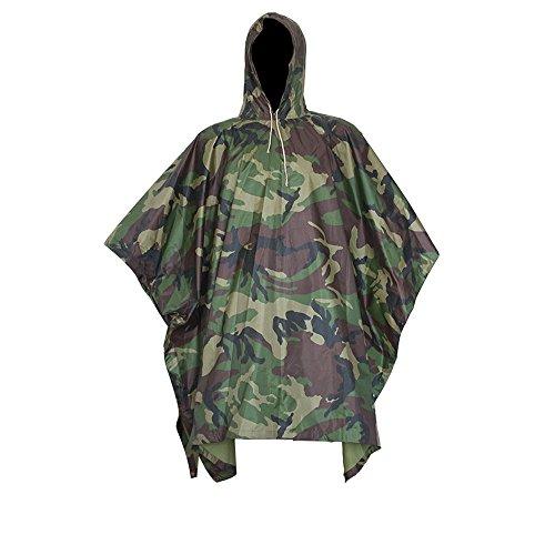 Regenjacken Poncho Regenponcho wasserdicht regenmantel für die Jagd Camping, Freizeit Regenmantel, Baumblatt Camouflage Rain Poncho (Militär Kostüme Mädchen)