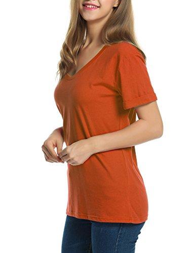 cooshional Damen Lose Fit Bluse Sommer Oversize T-Shirt Kurzarm Shirt Fledermaus Schulterfrei Oberteile Orange