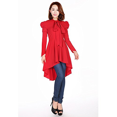 Chic Star Gothic Victorian Romance Steampunk Long Sleeved Top or Dress Red UK Sizes 16