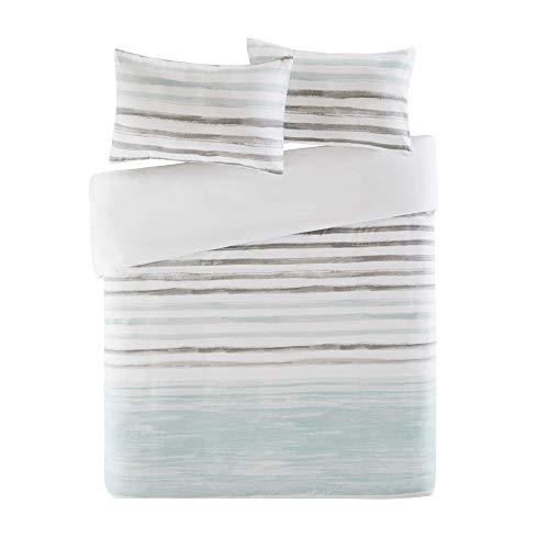 Bettwäsche 155x220cm Grün Weiß in Aquarell-Look 100% Baumwolle Renforcé 3-teilig Bettbezug & Kissenbezüge 80x80cm Geometrisch Gestreift Ideal für Schlafzimmer Fluid Stripe