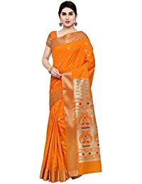 Varkala Silk Sarees Women's Raw Silk Paithani Saree With Blouse Piece(NYJB5012OR_Orange_Free Size)