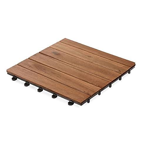 forestfox™ Pack of 9 Interlocking Garden Patio Decking Tile Acacia Hardwood 30x30cm Each