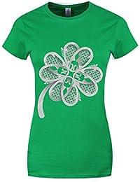 Grindstore Women's Lucky Irish Clover T-Shirt Green