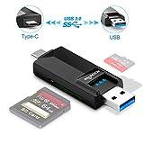 Rocketek - Lettore di schede MicroSD, SD. Entrambi i connettori USB di tipo C e USB sono USB3.0 con velocità di trasferimento eccellenti per Android, Windows, Mac, Linux Compatibile con TF, SD, MMC
