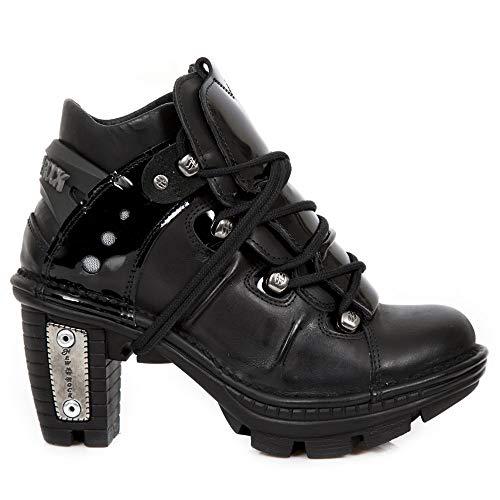 New Rock M.NEOTR071-R1 Schuhe Stiefeletten Damen Mädchen Leder Schwarz Keil Punk Heavy Gotik