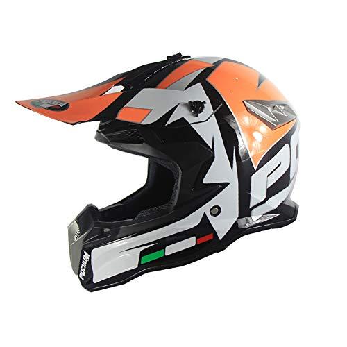 Casco Moto, Caschi per Bambini Dirt Bike da Bambino, Casco Integrale per Fuoristrada Motocross DH Downhill con Visiera Casco da Corsa Quattro Stagioni Universale,Orange,L