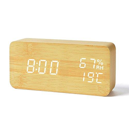 FiBiSonic Wecker Digitale Tischuhr LED Datum Feuchtigkeit Temperatur Holz Standuhr Dekoration Alarm (Holz Digital Wecker)