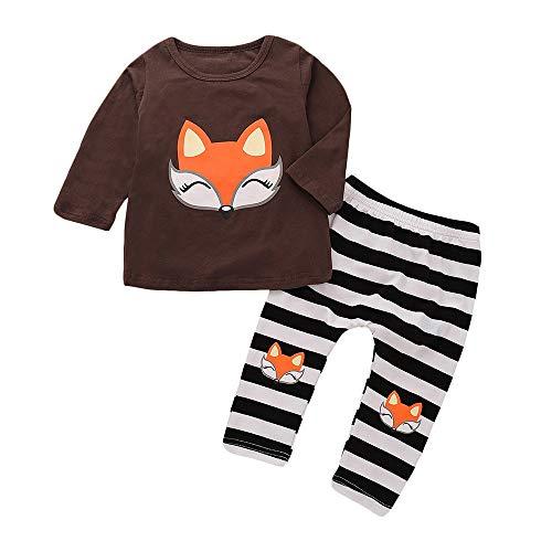 Huihong Kinder Mädchen Kleidung Sets Cartoon Fox Print T Shirt Tops + Gestreiften Hosen Outfits Set (Kaffe, 4 Jahre/120)