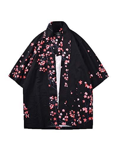 Hombre Camisa Kimono Hippie Cloak Estilo Japonés Estampado Holgado Ma