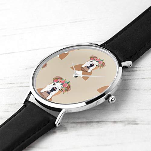 Unisex Ultra Thin Fashion Minimalist Armbanduhren English Bulldog Dog Mit Cut Lines Hund Panel, Hund, Cut and Sew Floral wasserdichte Quarz Casual Watch Mens Womens -