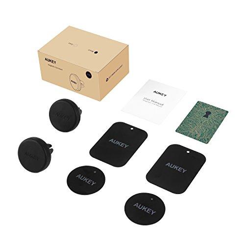 AUKEY Soporte Móvil Coche Magnético Universal ( 2 Pack ) para Rejillas del Aire Soporte Smartphone Coche para iPhone 7 / 6s / 6 / 5s / 5, Samsung Note 8 / S8 / Note 4, LG G3 y Dispositivo GPS - Negro
