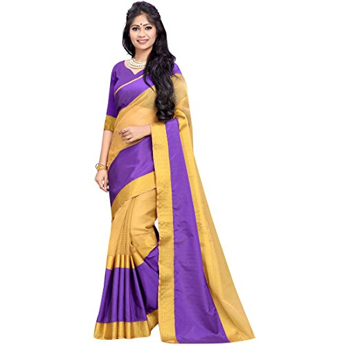 Cozee Shopping Saree With Blouse Piece (_Purple & Beige_Free Size)