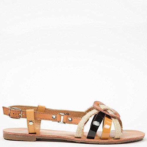 Ideal-Shoes Sandali piatti con tracolla, effetto corda Fati Nero (nero)