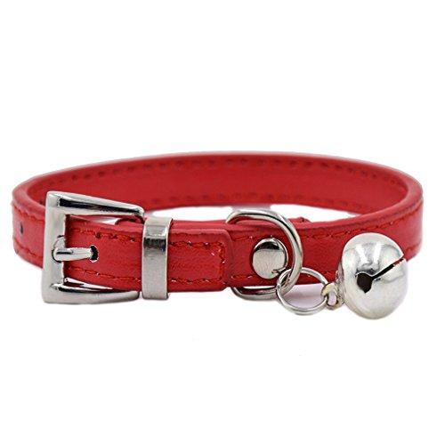 Klassische Hundehalsband PU Leder Halsbänder mit Glocke 1.0cm Breit 17-28cm Halsumfang XXS XS für kleine Hunde Welpen Katze, Rot XXS