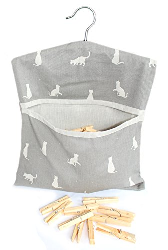 happy-cats-grey-dark-taupe-premium-quality-cotton-peg-bag-with-clothes-line-hanging-hook-includes-40