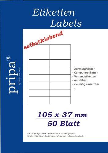 Blatt Avery Volle Etiketten (pripa Etikettenformat 105 x 37, 50 Blatt DIN A4 selbstklebende Etiketten. Der Einzelbogen ist aufgeteilt in16 Etiketten pro Bogen = 2 Spalten je 8 Reihen, 800 Etiketten/Pack.)