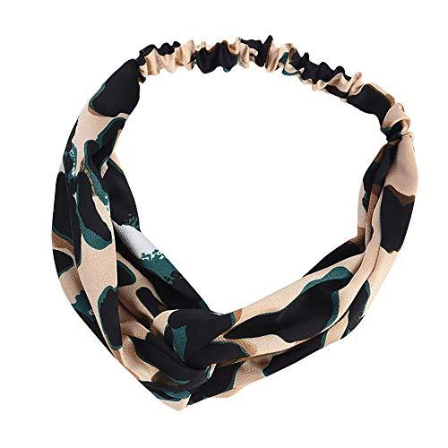 Fake Haar Kostüm - Haarbands,Sasstaids Boho Leopard Twist Knoten Stirnband elastische Wrap Turban Haarband Yoga Sport Damen