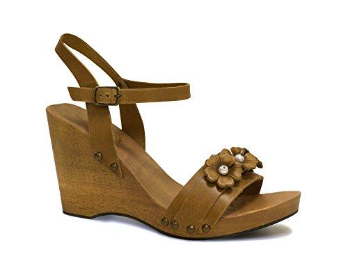 Sandali zeppa in legno in pelle di vitello color cuoio - Codice modello: 090 CUOIO - Taglia: 37 IT