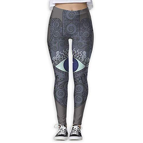Deglogse Yogahosen, Trainingsgamaschen,KIOJIANM Hamsa Art Yoga Pants for Women Colorful Yoga Capris Ladies Workout Leggings Womens Slim-Fit Yoga Leggings
