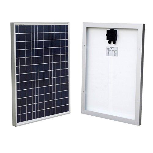 ECO-WORTHY 50W Solarmodul 12V Solarpanel - Polykristallin Photovoltaik Offgrid Power Camping Caravan Garten