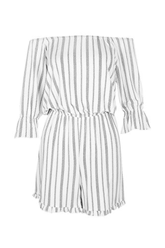 blanc Femmes Niamh Off The Shoulder Striped Playsuit Blanc