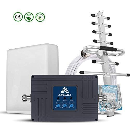 ANYCALL Mobilfunkverstärker, Tri-Band-Repeater GSM, 2G EGSM 900 MHz UMTS 2100 MHz LTE 1800 MHz, um Anrufe 3G und 4G in Ihrem Haus/Büro zu erhalten. Band Gsm