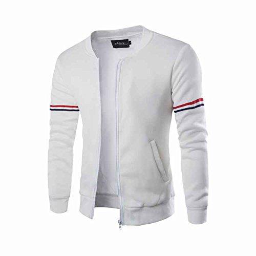 Preisvergleich Produktbild Herren Slim Jacke Stehkragen Band dekorative Mantel Reißverschluss Herbst Winter Mantel Minzhi