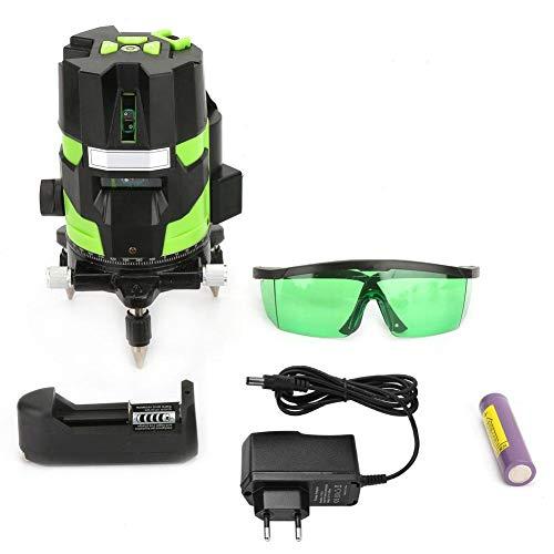 Level Measure Tool, 100-240V Y Modell Grünes Licht 3 Linie 4 Punkte LD Laser Hebel Bodenfliesen Nivellierungsinstrument für den Bau(EU Plug100-240V) Bau-laser