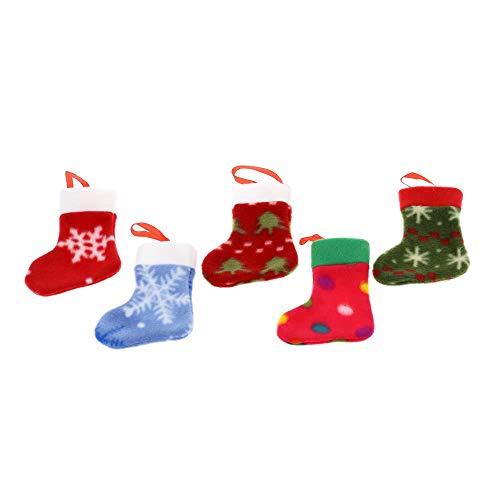 Tianzhiyi decorazione natalizia mini calze di natale, bella decorazione dell'albero di natale hanging socks ornamenti per mettere regali caramelle natale 5pcs