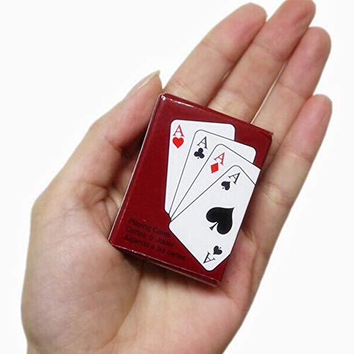 Rosepoem Mini Poker Karten Mini Poker Puppenhaus Zubehör Spielkarten 5.3 * 3.8 * 2cm Spaß Heimwerker Poker