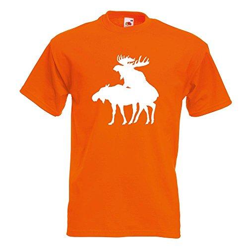 KIWISTAR - Elche Kopulierend T-Shirt in 15 verschiedenen Farben - Herren Funshirt bedruckt Design Sprüche Spruch Motive Oberteil Baumwolle Print Größe S M L XL XXL Orange