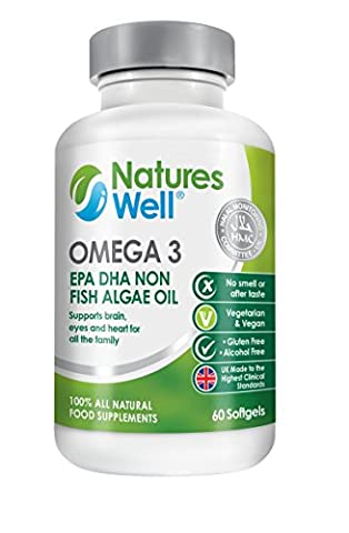 Vegan Omega 3, 60 Gold Standard Veg Soft Gels, Pure EPA DHA Rich Algae Oil, 100% Halal Certified & Sustainable, Non-GMO, No Fish Oils, Free from Mercury, Heavy Metals & Toxins, Optimised Vegan Supplement by Natures