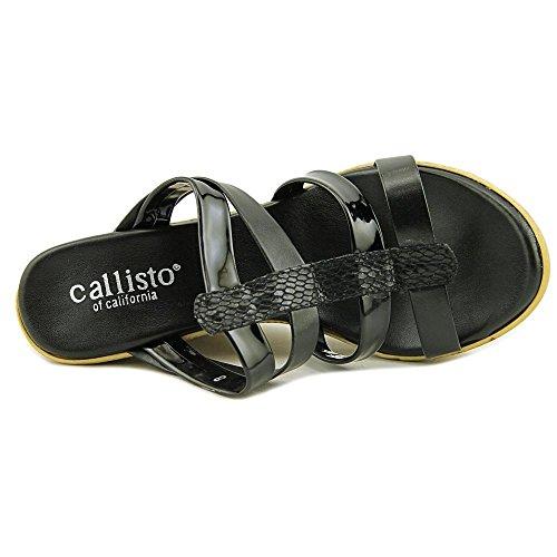Callisto SassyE Cuir Sandales Compensés Black Combo