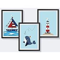 Kinderzimmer Poster maritim - A4 Kinderbilder - 3er Set