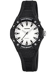 Calypso Reloj unisex de cuarzo con blanco esfera analógica pantalla y correa de plástico en color negro K5675/8