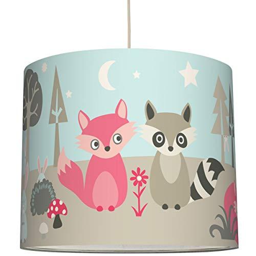 Anna Wand Hängelampe Little Wood - Lampenschirm für Kinder/Baby Lampe mit Waldtieren - Sanftes Kinderzimmer Licht Mädchen & Junge - ø 40 x 34 cm (Lampenschirm Hase)
