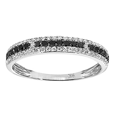 Naava 9 ct White Gold 0.33ct Black and White Diamond Eternity Ring