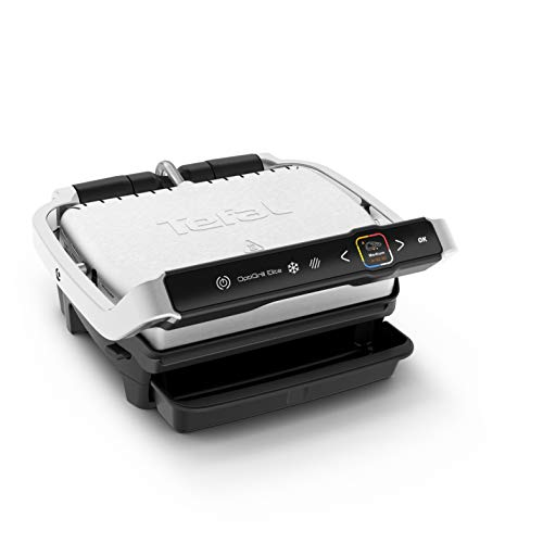 Tefal OptiGrill Elite GC750D Grille de contact 2000 Inox Noir Brossé