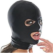 Mangotree Esclavitud Fetiche Sexy Toy Mask Mascarada Fantasía Elástico Máscara de Cabeza Cosplay Juego Hood para Parejas (Free Size, 3 Hoyos)