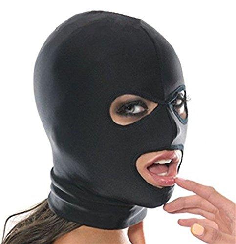 Mangotree Bondage Fetisch Reizvolle Spielzeug Maske Fantasy Elastisch Kopfmaske Cosplay Spiel Kapuze (Free Size, 3 Hole)