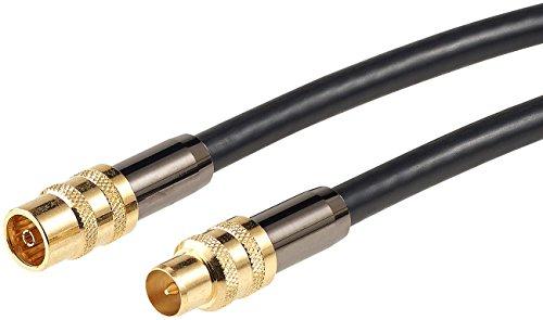 auvisio Fernseh Antenne: Premium-HDTV-Antennenkabel, Koaxial-Stecker, 1 m, Schwarz, 105 dB (Antennenkabel für TVs)