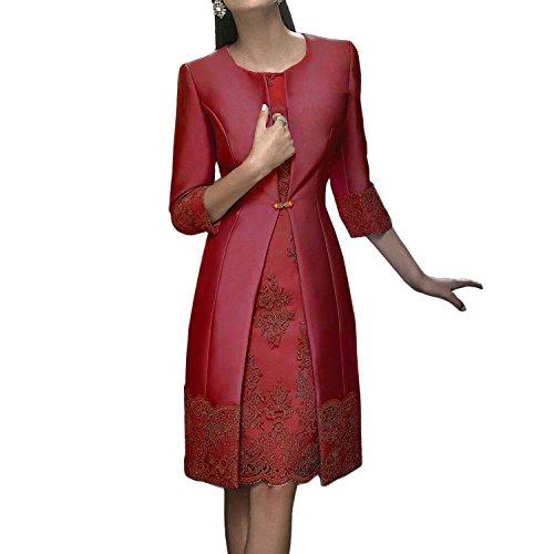 Dressvip 2 Stück Knielänge Frauen Kleider Mit Lange Jacke Für Besondere Anlässe Rot