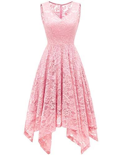 Meetjen Damen Elegant Spitzenkleid V-Ausschnitt Unregelmässig Vokuhila Kleid Festlich Cocktail Abendkleid Pink L (Kleider Frauen Rosa Für)