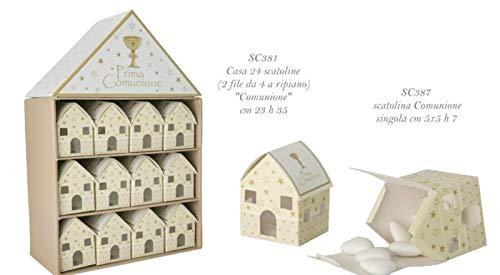 Box casa casetta prima comunione con 24 scatoline portaconfetti bomboniera