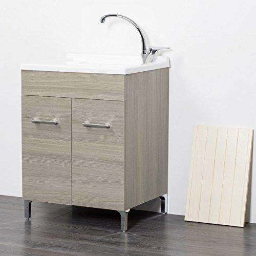 Mobile lavatoio in legno 60x50 50x50 45x50 cm asse lavapanni pilozza vasca in resina lavanderia (60x50 cm, rovere grigio)