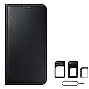 Avzax Premium Leather Flip Wallet Case Cover for Lyf Wind 6 (Black) + SIM Card Adapter