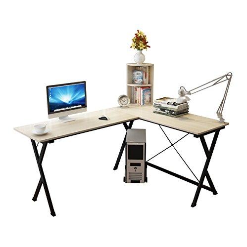 Soges Eckschreibtisch L Computertisch (120+110) x 50 x 72cm Eckschreibtisch Holz Weiß Ahorn ZJ1-MP