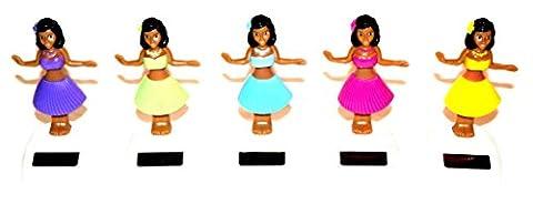 5x Gute Laune Solar Kunststoff Wackelfigur Solarfigur Tanzende Figur Hula Girl 10cm Neu